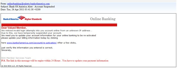 Bank Of America Phishing Email Message Scam