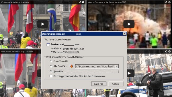 boston bombings spam message malware download