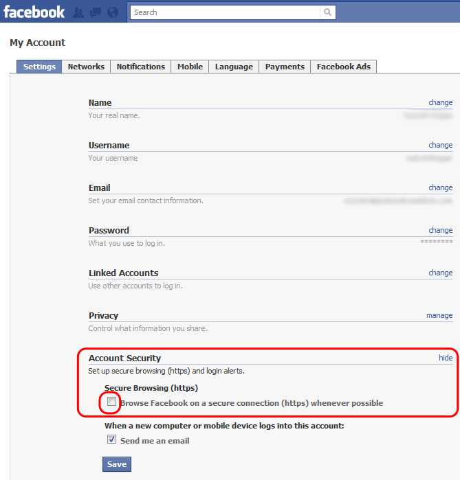 Chat facebook settings security