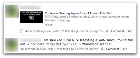 i will never text again facebook app link wall post