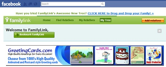 family link facebook app fake greetingcards ad