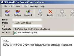 world cup spam message spreading malware