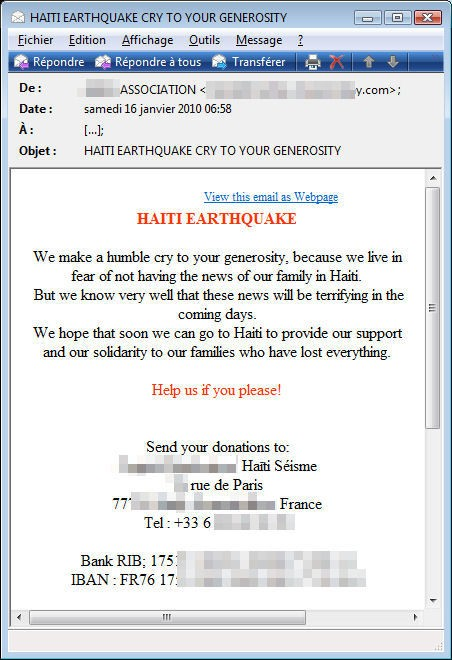 haiti earthquake scam email message
