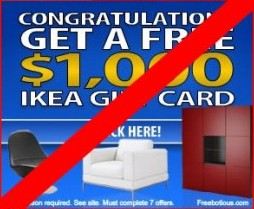Fake $1000 Ikea Gift Card Offer