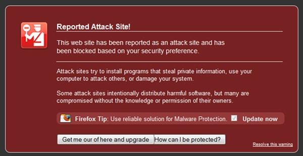 fake web browser warning message