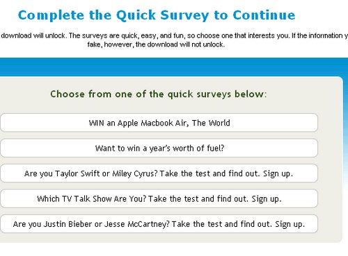 online survey popup to continue on web page