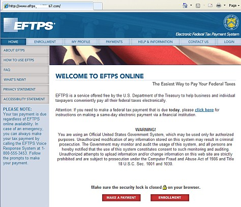 phishing fake website for eftps tax payment