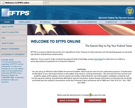 real eftps online tax payment government site