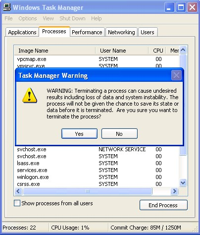 Task Manager Warning