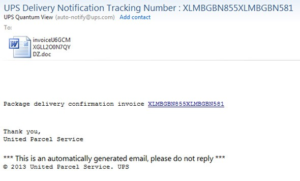 ups delivery notification tracking spam message
