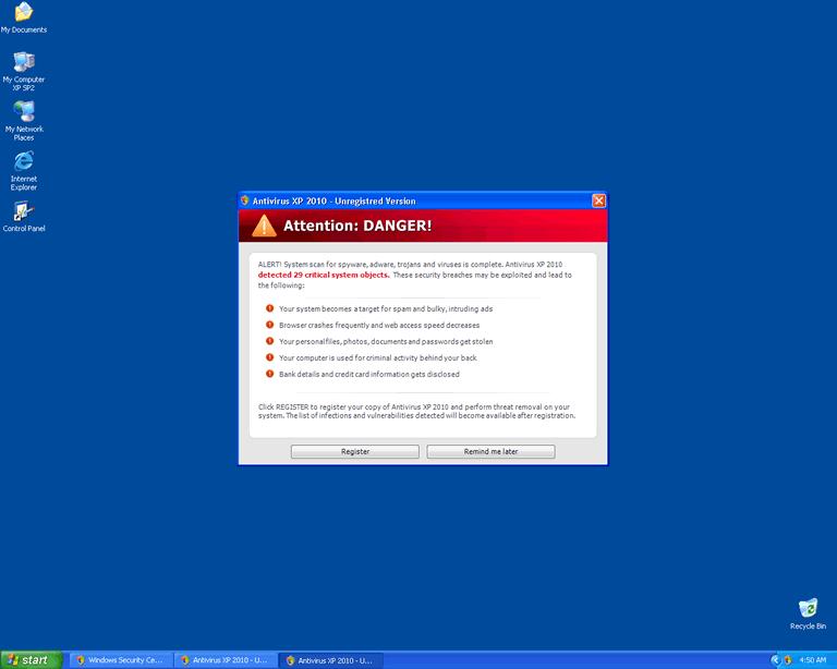 Antivirus XP 2010 or W32/FakeSec.F.gen!Eldorado Removal Report