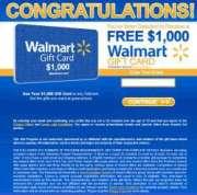$1000 Walmart Gift Card Winner Fake Pop-up screenshot