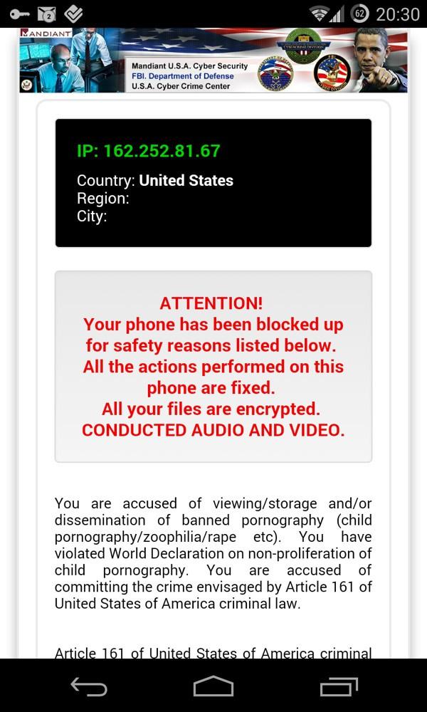koler ransomware usa mobile users