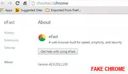 efast browser fake google chrome