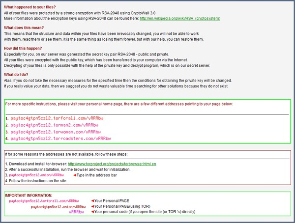 cryptowall 3.0 message translated english