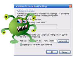 browser proxy settings hijacked websearcher pup