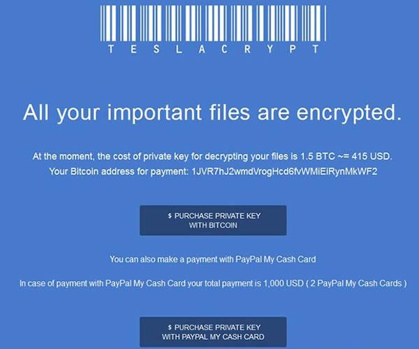 teslacrypt ransom note variation 1
