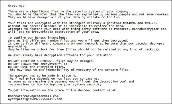LockerGoga Ransomware screenshot