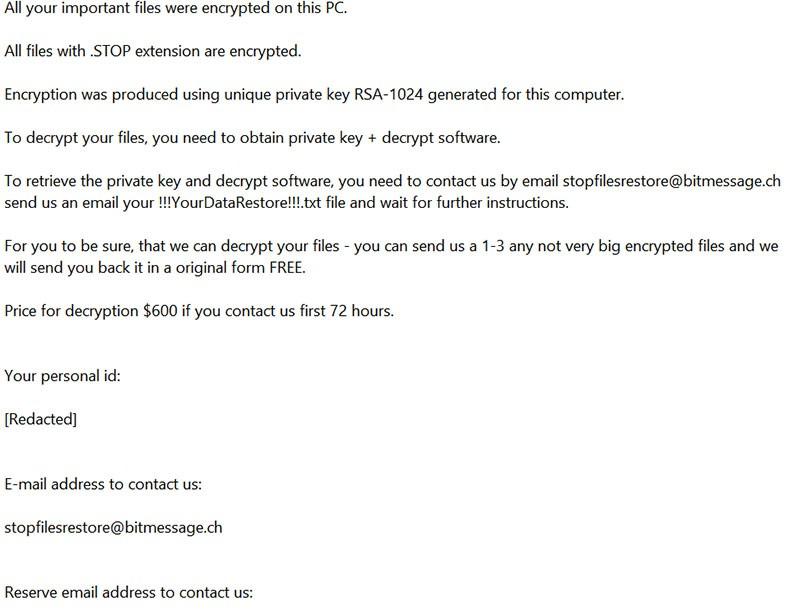 STOP / DJVU ransomware