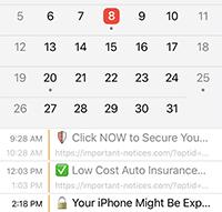 'Calendar' Virus Screenshot