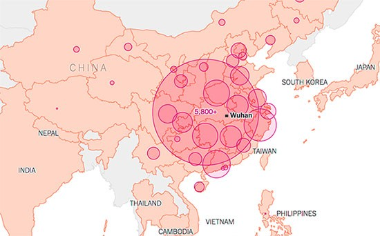 mapa de propagación de coronavirus china