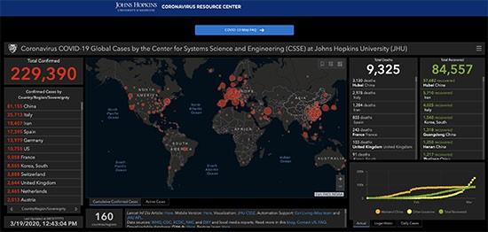 johns hopkins university coronavirus infection map