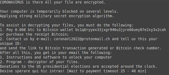 coronavirus ransomware ransom note