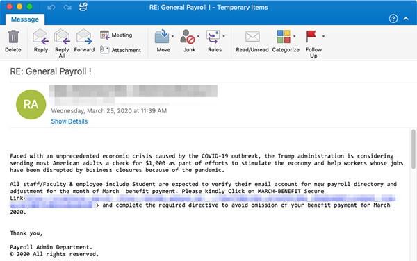 covid 19 cybercrooks phishing email
