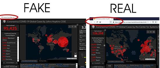 fake real johns hopkins coronavirus maps