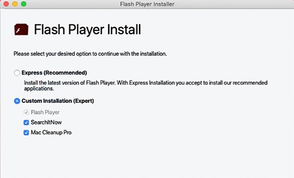 cerca pop-up di falsi flash player marchese