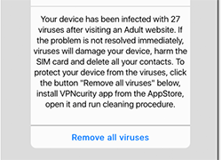 Your device has been infected with 27 viruses pop-up Screenshot